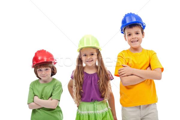 Profi útmutatás nap gyerekek sapkák izolált Stock fotó © ilona75