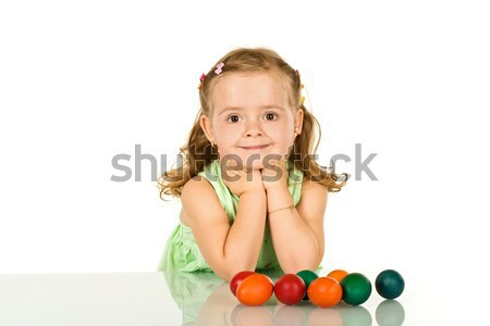 Smiling little girl with easter eggs Stock photo © ilona75