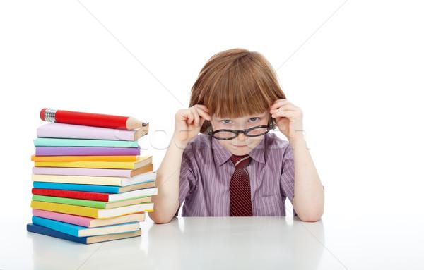 Stockfoto: Weinig · jongen · bril · boeken · kennis · onderwijs