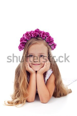 Little girl with pink violet floral wreath Stock photo © ilona75