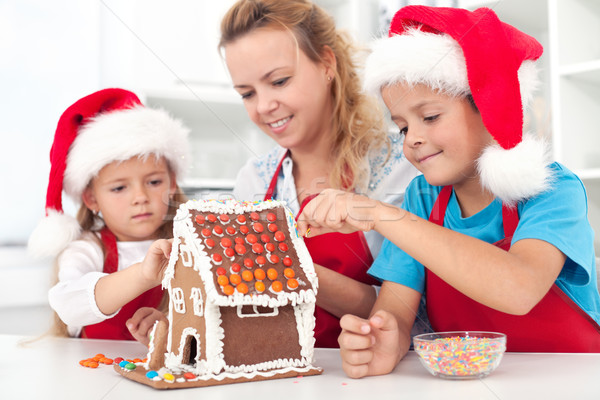 Pan di zenzero cookie casa famiglia Natale tempo Foto d'archivio © ilona75