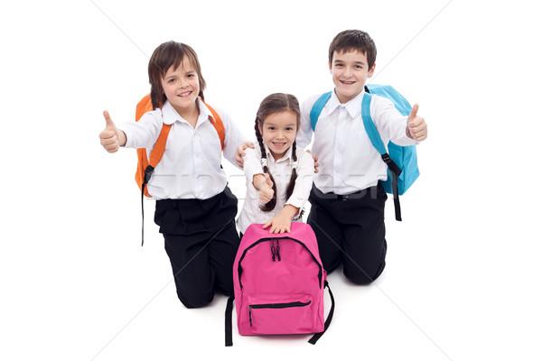 Feliz escolas crianças assinar menina Foto stock © ilona75