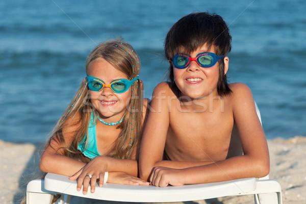 Stok fotoğraf: çocuklar · yüzme · gözlük · plaj · su