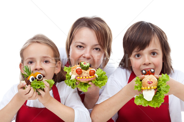 Femme enfants mordre Creative sandwiches Photo stock © ilona75