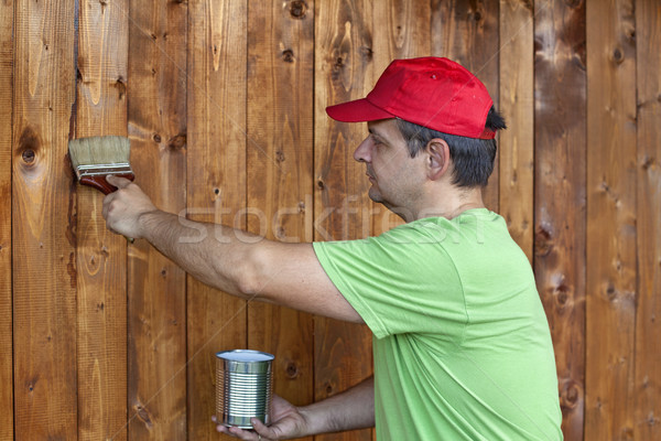 Man painting wooden wall Stock photo © ilona75
