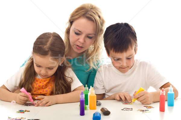 Kids busy painting with lots of colors Stock photo © ilona75