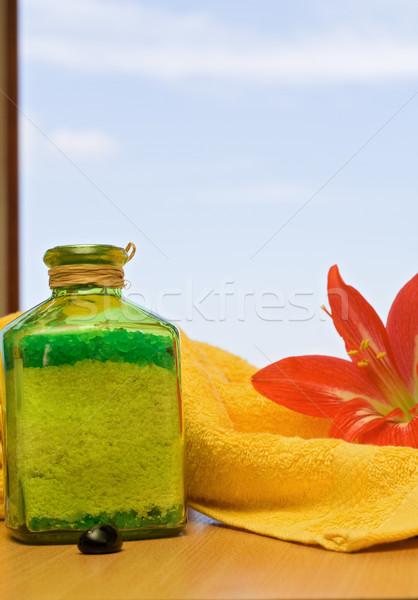 Bath salt, flower and towel Stock photo © ilona75