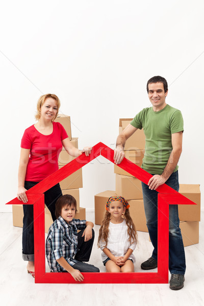 Family with kids buying a new home Stock photo © ilona75