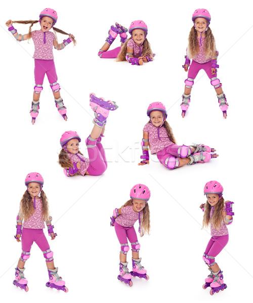 Skater ragazza diverso posizioni felice collage Foto d'archivio © ilona75