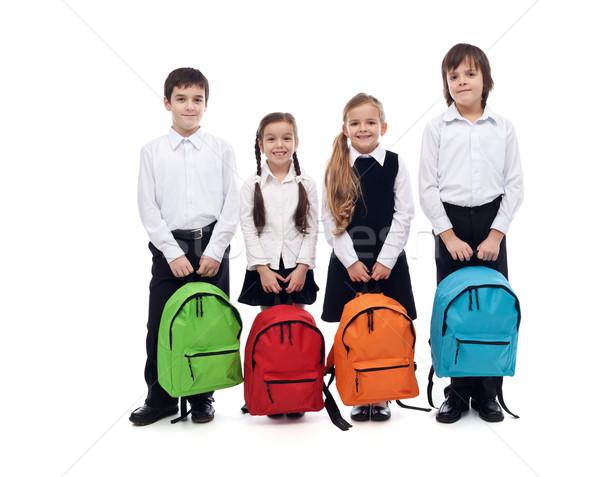 Grupo feliz crianças de volta à escola isolado menina Foto stock © ilona75