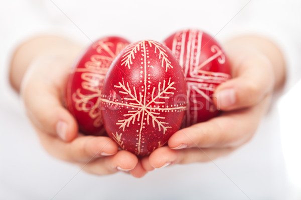 Child hands with traditional easter eggs Stock photo © ilona75