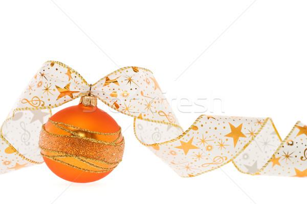 ストックフォト: オレンジ · クリスマス · 装飾 · リボン · 装飾的な