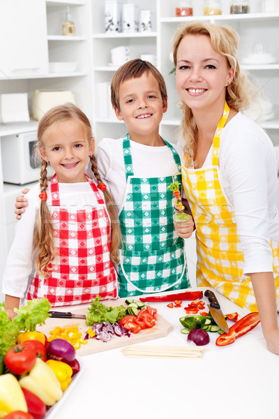 Oktatás egészséges étrend gyerekek anya konyha étel Stock fotó © ilona75