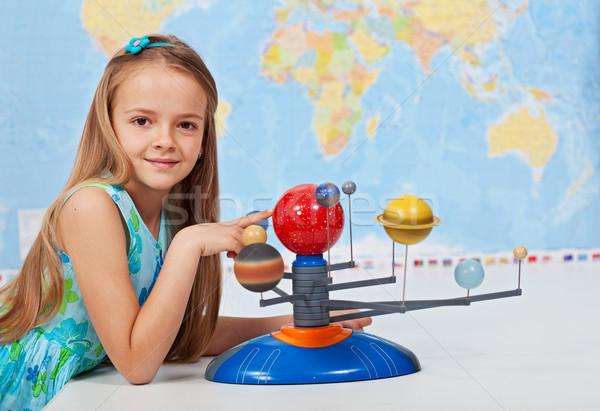 Foto stock: Jovem · estudar · sistema · solar · ciência · classe · geografia