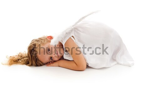 Little girl with angel wings and white dress Stock photo © ilona75