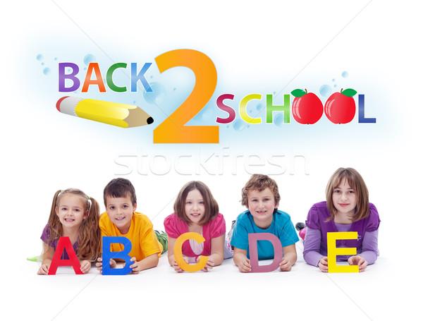 Stockfoto: Kinderen · alfabet · brieven · terug · naar · school · leren · meisje