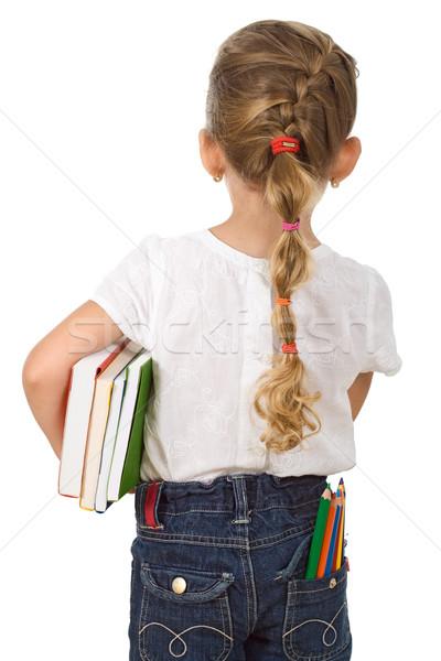 Stockfoto: Meisje · terug · naar · school · potloden · boeken · meisje · glimlach