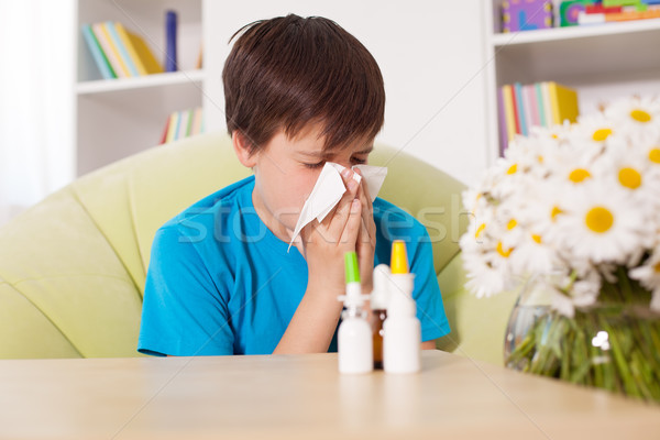 Young boy blowing nose with nazal sprays and other medication in Stock photo © ilona75