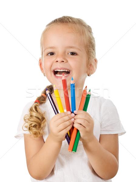 Stockfoto: Gelukkig · meisje · gekleurd · potloden · geïsoleerd · terug · naar · school