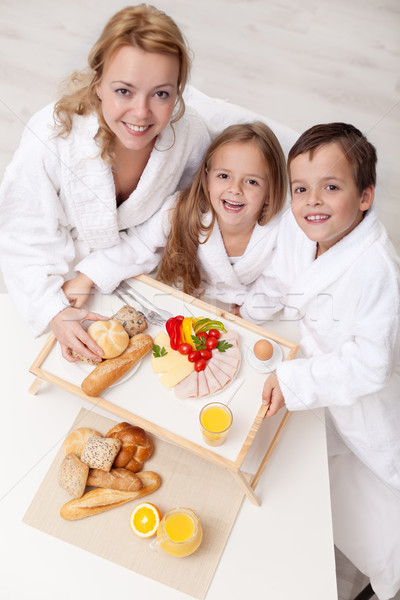 Woman and kids having a light and healthy snack Stock photo © ilona75