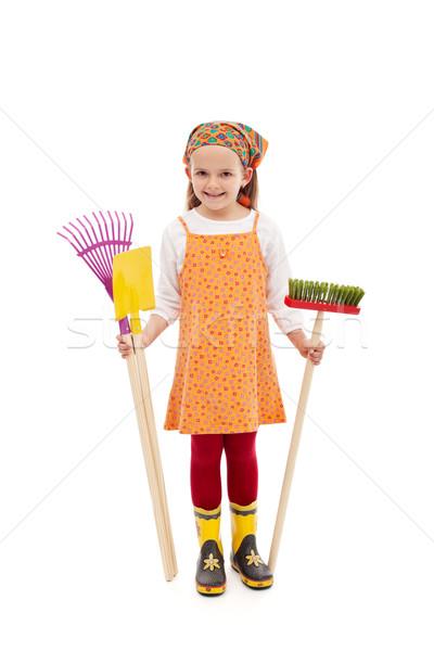 Happy spring girl with gardening tools Stock photo © ilona75