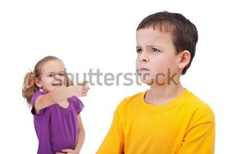 School bullying concept with girl mocking boy Stock photo © ilona75