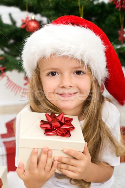Foto stock: Little · girl · apresentar · natal · seis · adorável