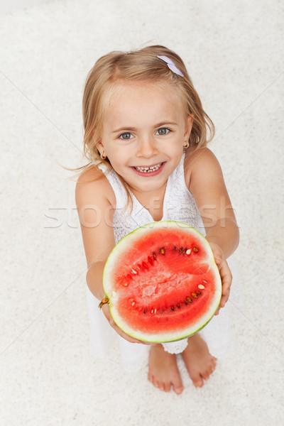 Gelukkig meisje half watermeloen meisje Stockfoto © ilona75