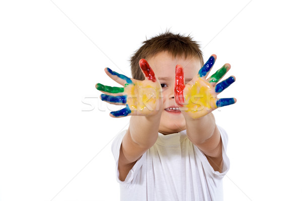 Smiling proud boy with hands full of paint Stock photo © ilona75