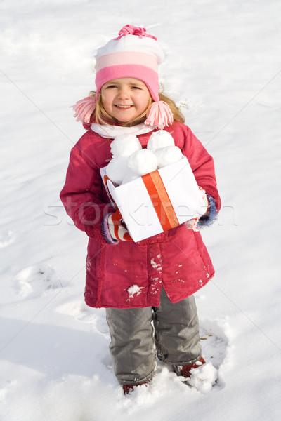 Mutlu küçük kız kutu kış zaman kız Stok fotoğraf © ilona75