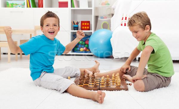 Boy wins chess game Stock photo © ilona75