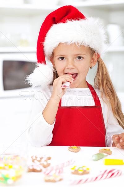 Сток-фото: девочку · Рождества · Cookies · дегустация · счастливым