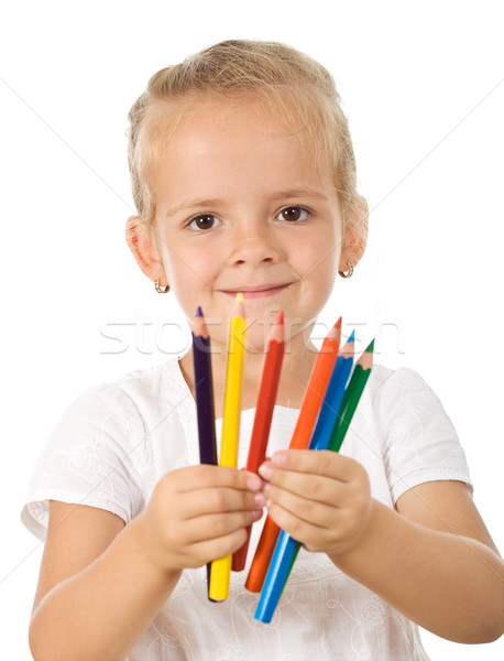 Petite fille crayons fille sourire crayon Photo stock © ilona75