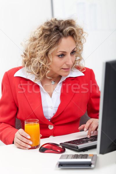 Agora interessante empresária escritório olhando tela do computador Foto stock © ilona75