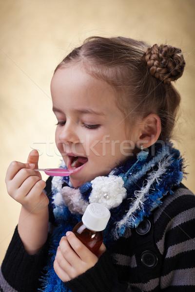 若い女の子 咳 薬 シロップ 手 ストックフォト © ilona75