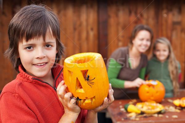 Family preparing for Halloween Stock photo © ilona75