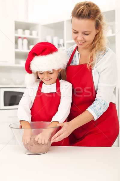 Preparing the cookie dough at christmas time Stock photo © ilona75