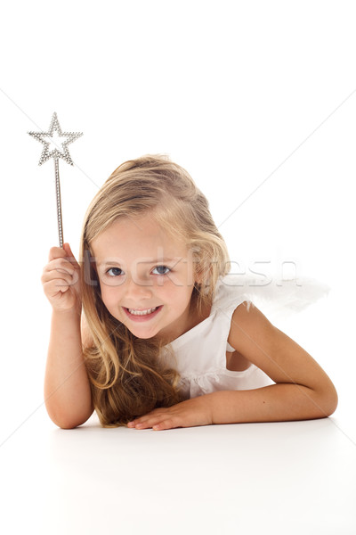 Little angel fairy with magic wand Stock photo © ilona75