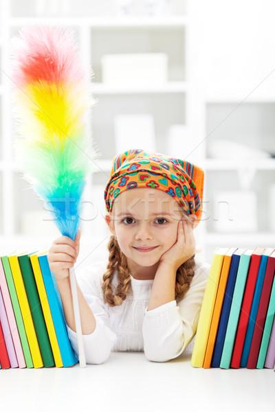 Little girl dusting in her room Stock photo © ilona75