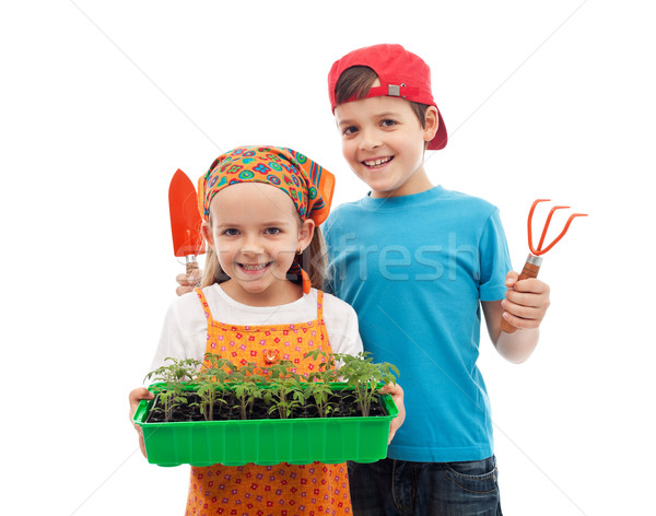Happy spring gardening kids Stock photo © ilona75