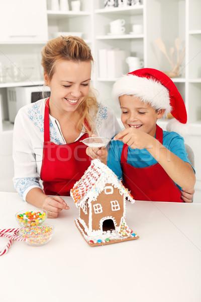 Finale pain d'épice maison personnes Noël temps Photo stock © ilona75