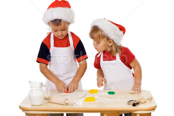 Christmas cookies twee kinderen kind tabel Stockfoto © ilona75