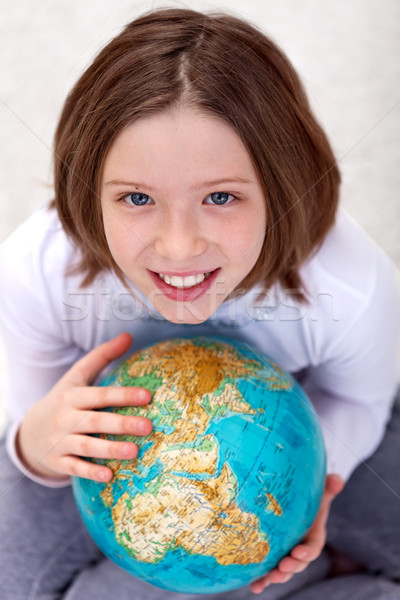 Young girl studying geography Stock photo © ilona75