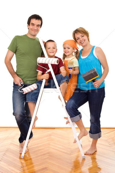 Boldog család festmény kellékek kész otthon család Stock fotó © ilona75