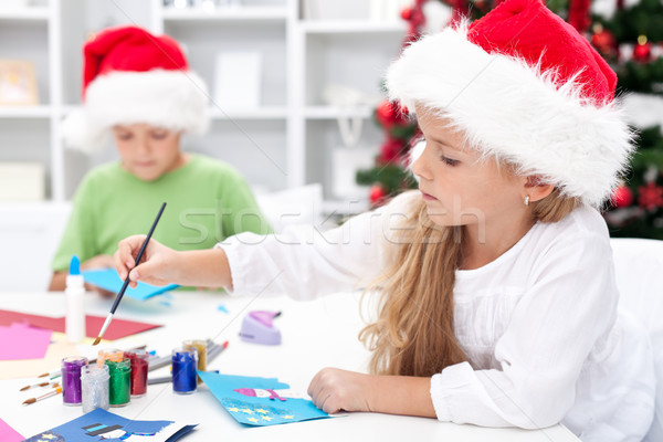 Kids making christmas greetings Stock photo © ilona75
