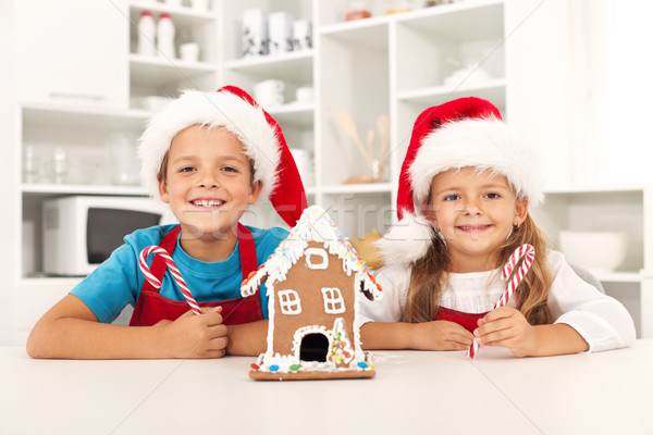 Happy kids at christmas time in the kitchen Stock photo © ilona75