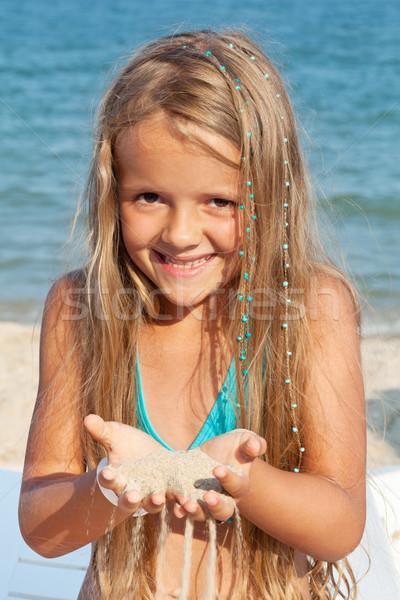 Stok fotoğraf: Küçük · kız · plaj · oynama · kum · su · kız