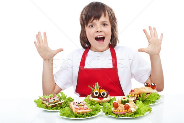 счастливым повар Creative продовольствие тварь Бутерброды Сток-фото © ilona75