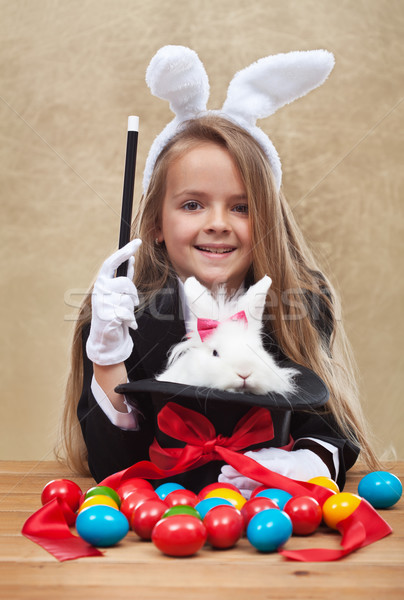 Conjuring the easter rabbit Stock photo © ilona75