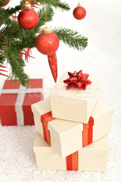 Foto stock: Navidad · presenta · primer · plano · casa · cuadro